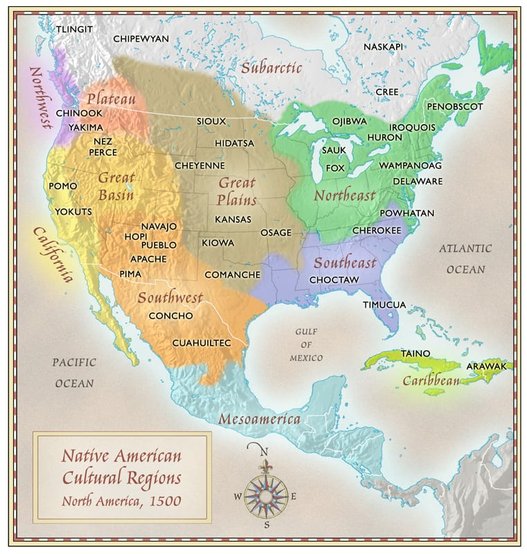 north american native cultures map