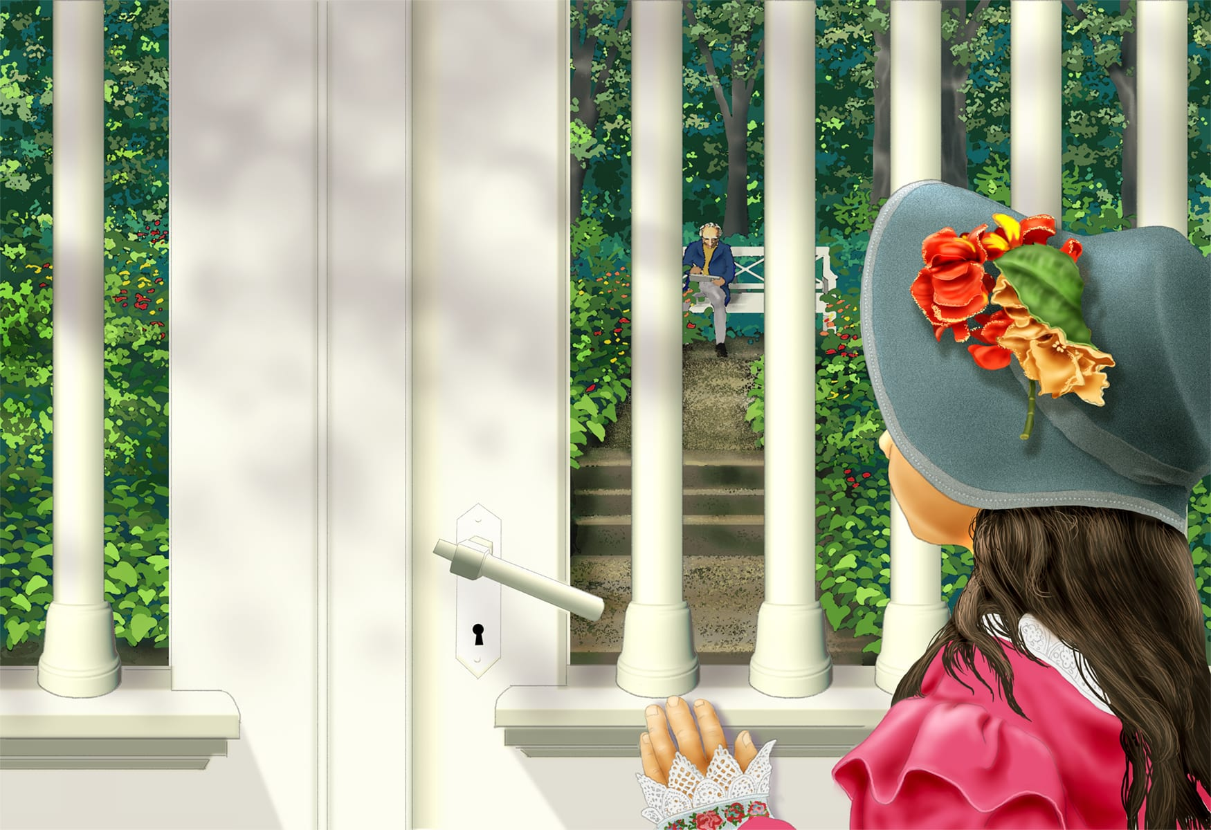 Anna at the garden gate