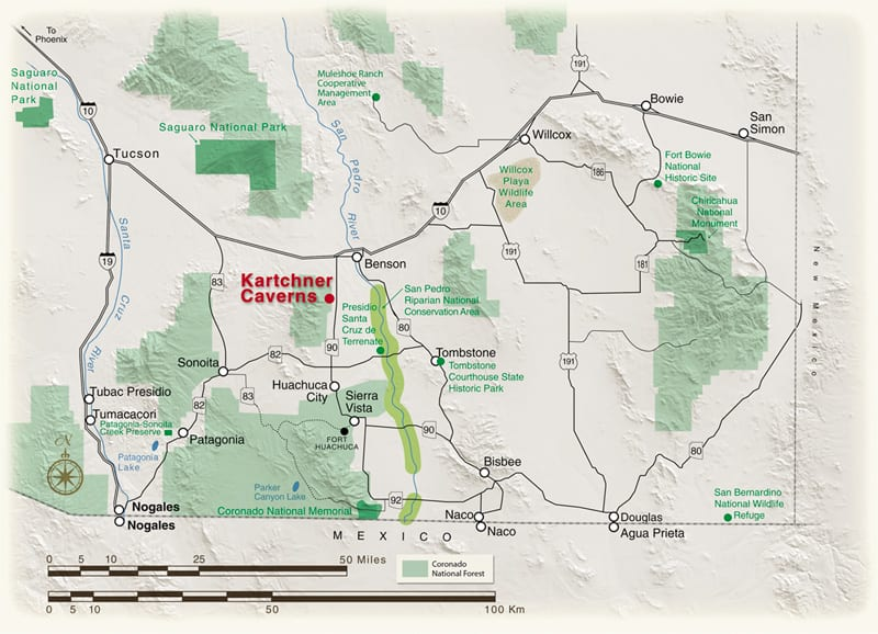 This map is part of the exhibits in the visitor center at Kartchner Caverns State Park, Arizona State Parks