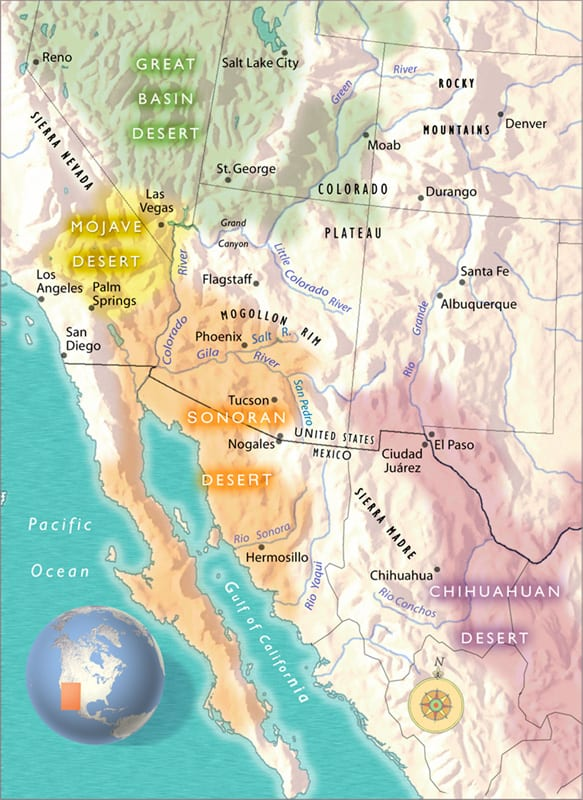 Southwestern Deserts Map