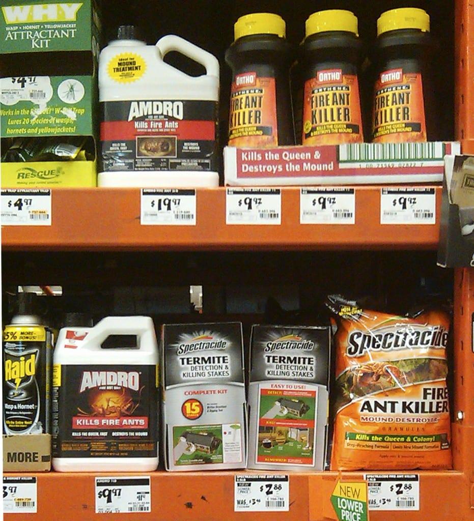 New and old (upper) Amdro bottles on shelf