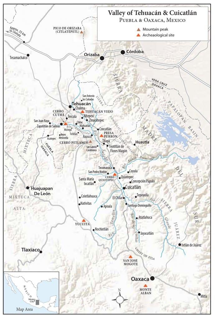 Tehuacan valley map, Mexico