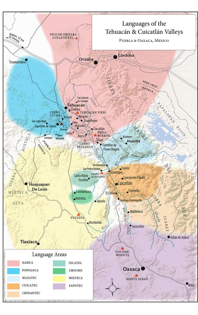 Tehuacan Valley languages map
