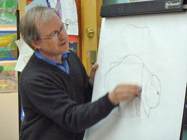 paul drawing a bison