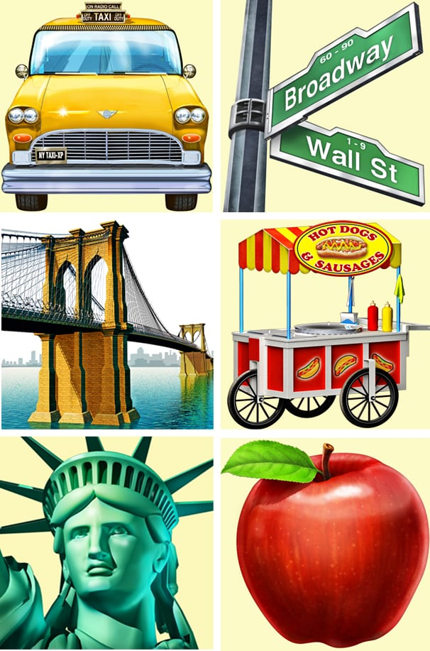 symbols fro Skyscraper game: New York Taxi, Street signs, Brooklyn Bridge, hot dog cart, Statue of Liberty, Big apple