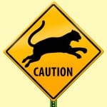 illustration of Caution Mountain Lion highway sign