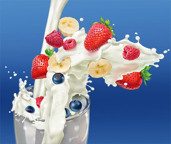 illustration of milk splash with fruit