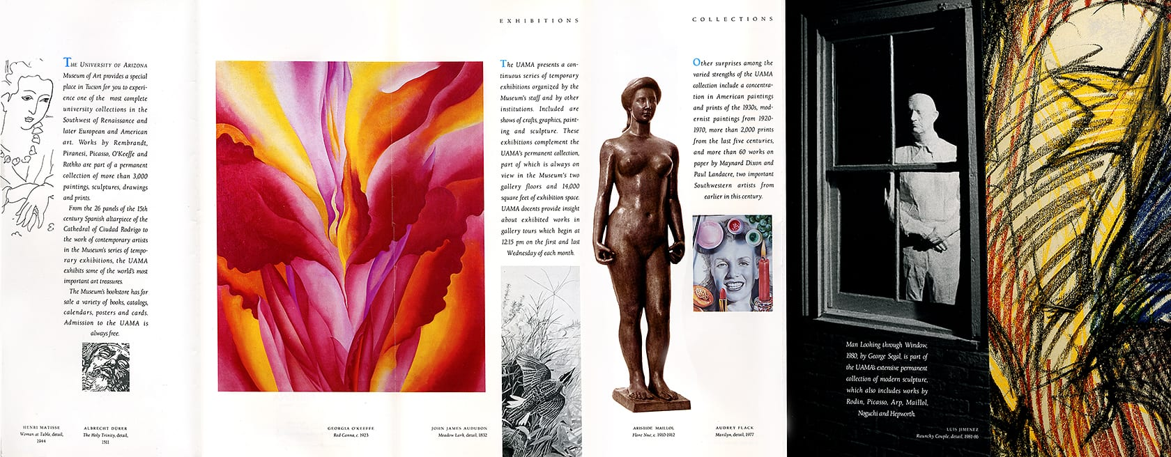 Fold-out interior of brochure for University of Arizona Museum of Art