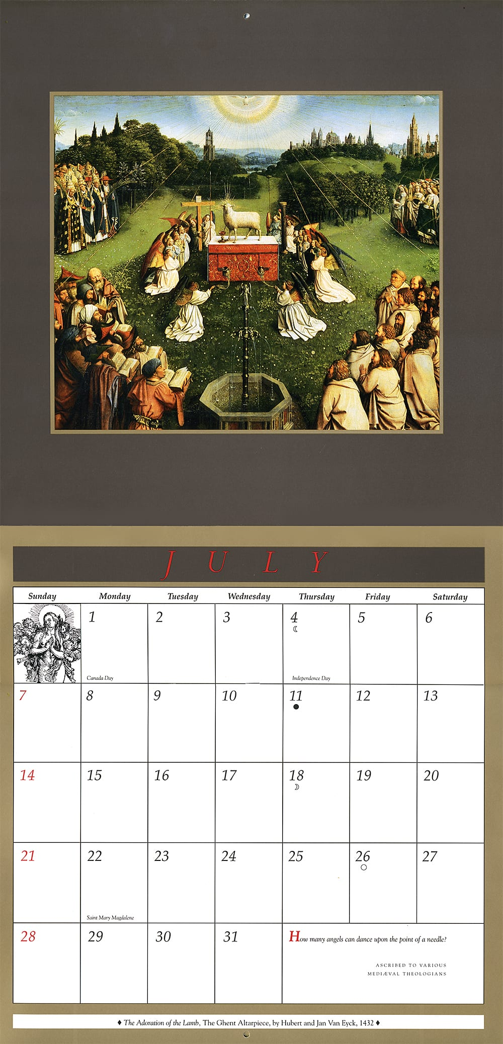 angel calendar-july layout