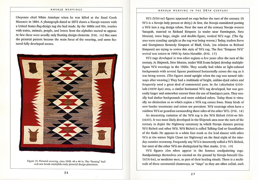 Sample interior spread-Navajo Weavings book