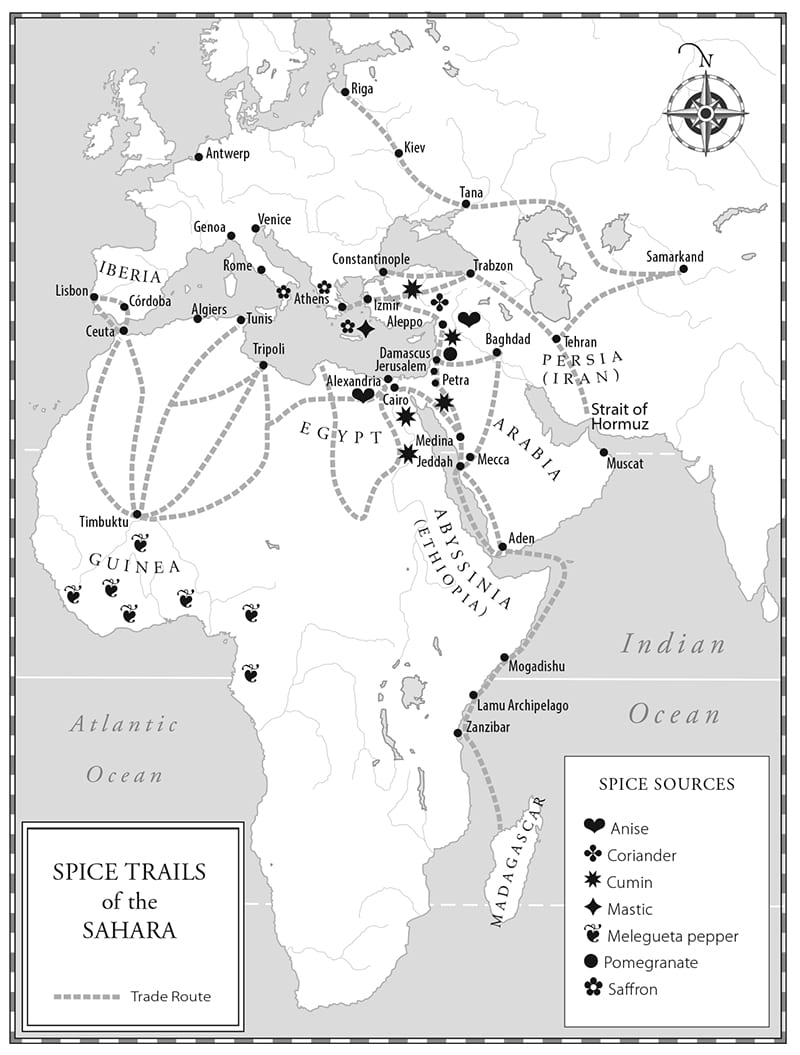 spice trails of teh sahara, map by paul mirocha