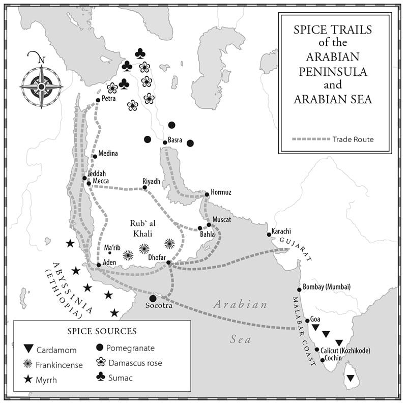 spice trails of the Arabian peninsula, map by paul mirocha