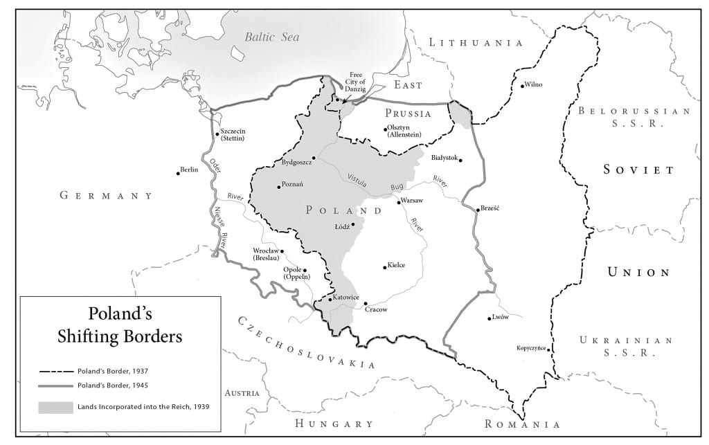 Map of Poland's shifting borders 1937-1946