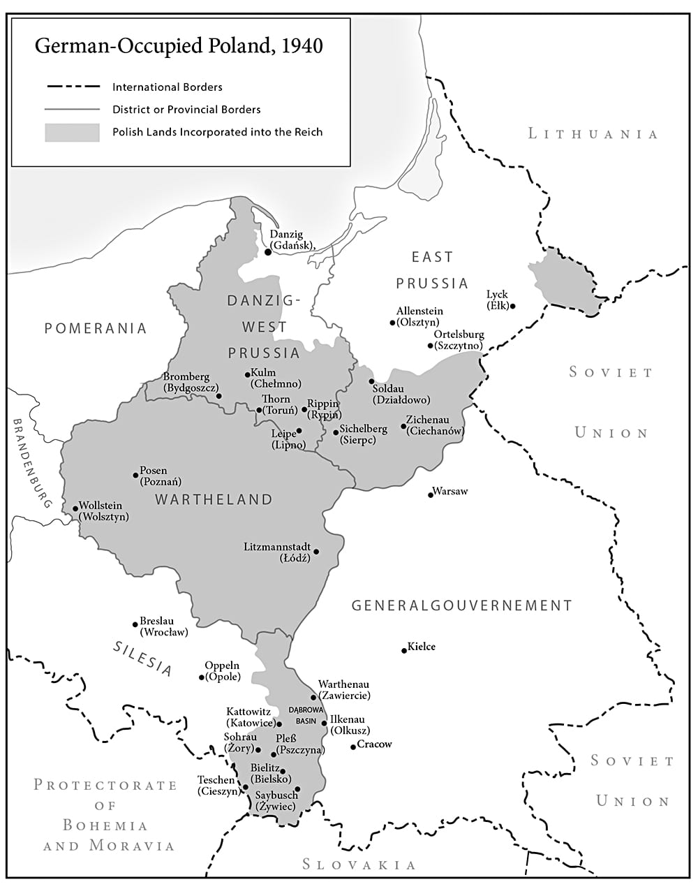 German-occupied Poland 1940, map by Paul Mirocha