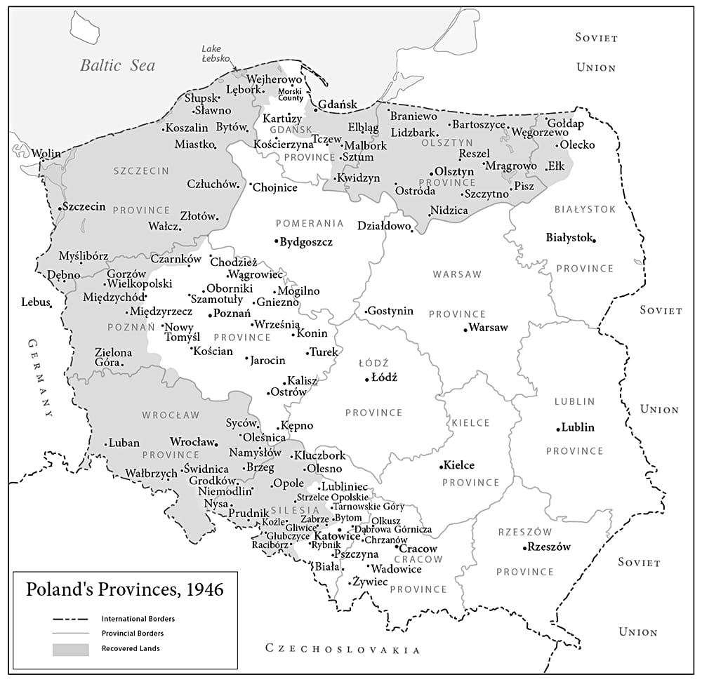 Poland and the recovered lands in1945, map by Paul Mirocha