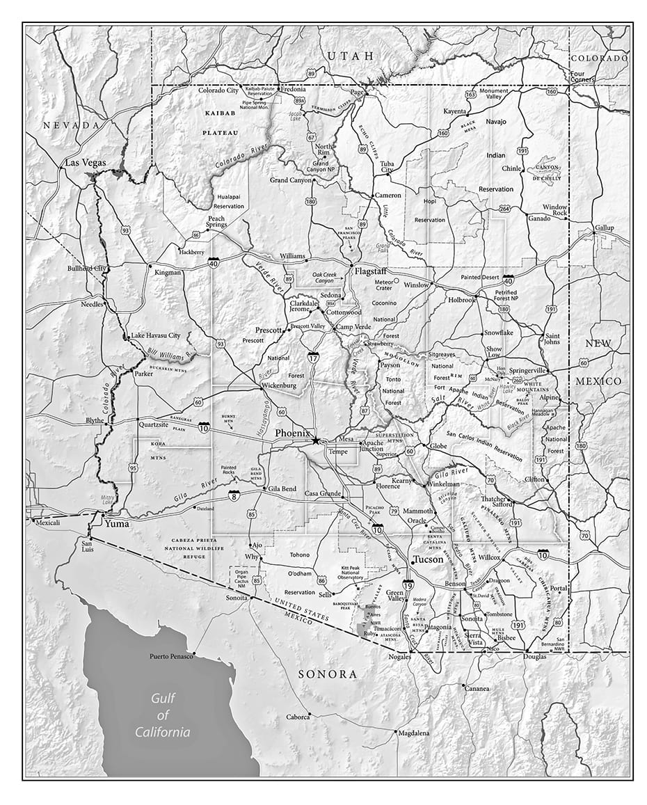 "Detailed Arizona map by Paul Mirocha for the book ""Chasing Arizona."""