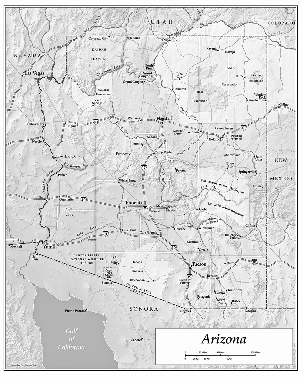 "Arizona map by Paul Mirocha for the book ""Chasing Arizona."""