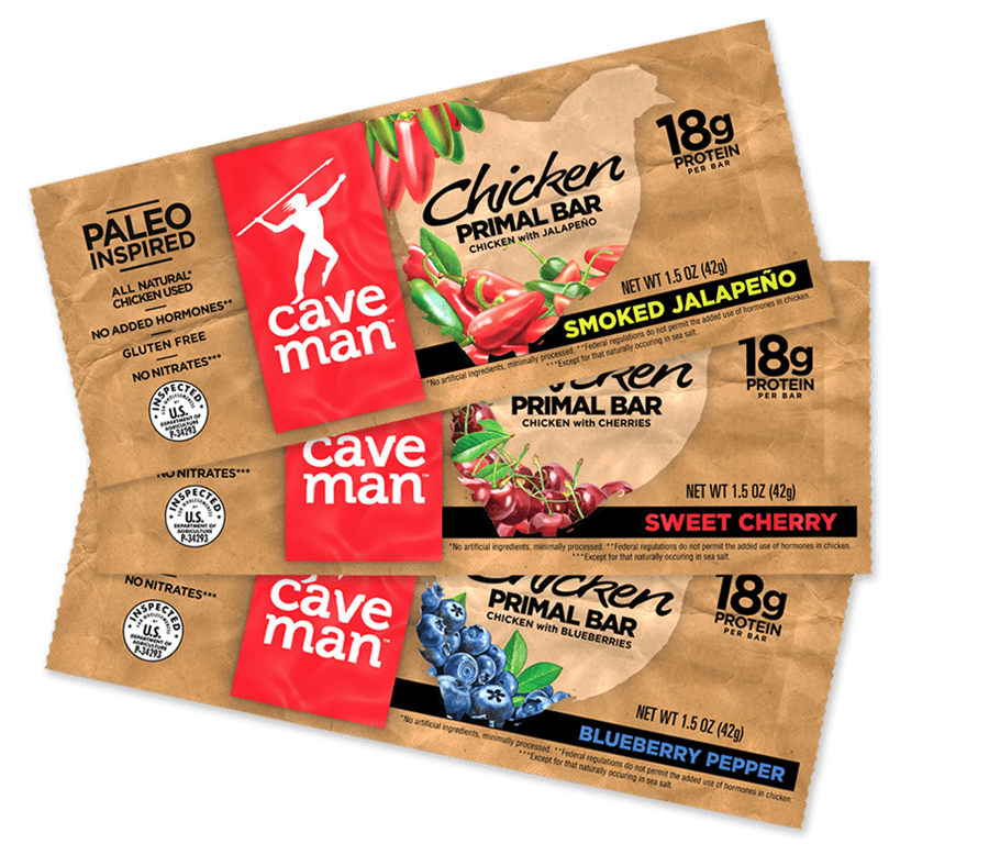 Cave Man-Chicken primal bar, illustrated by Paul Mirocha