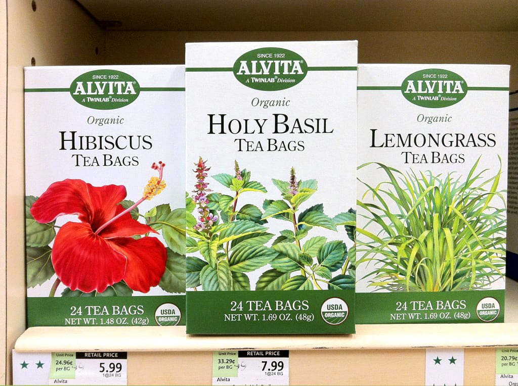 New Alvita tea packages on the shelf at Whole Foods