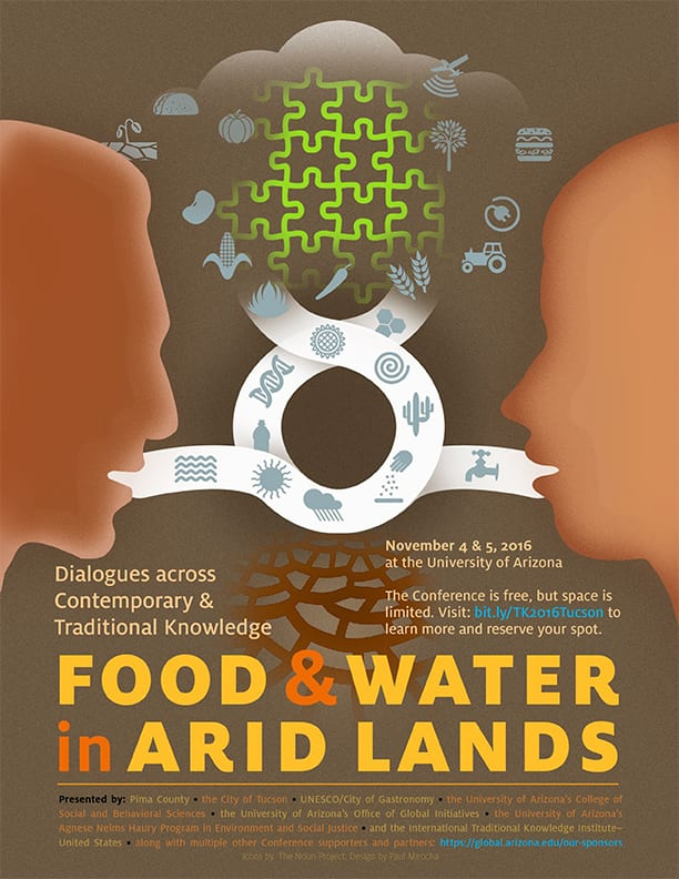 Food and water in arid lands poster, designed by Paul Mirocha