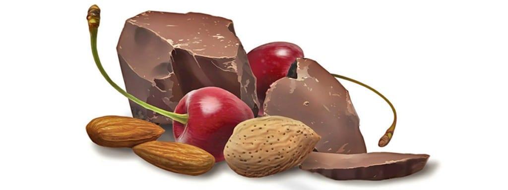 Dark chocolate almonds and cherries