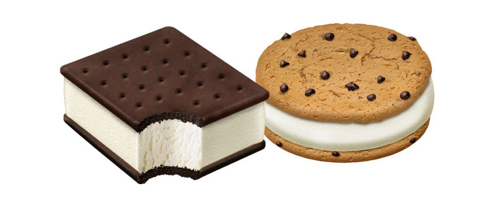 chips it and ice cream sandwich illustrations