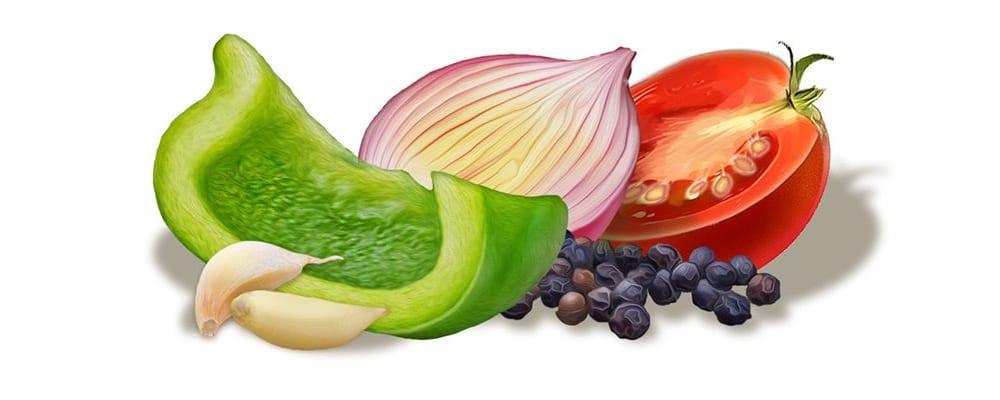 sliced vegetables illustraion