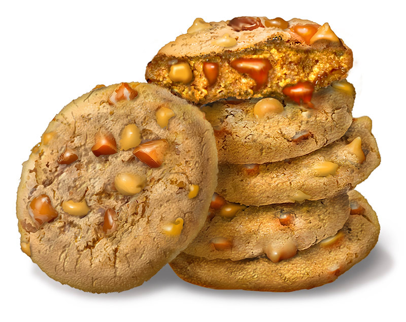 peanut butter toffee cookies illustration  for Isofit protein drink